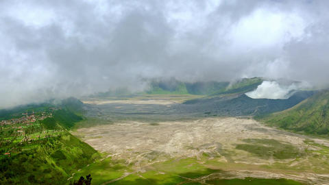 Indonesian village Cemoro Lawang located near crater of active Bromo volcano Footage