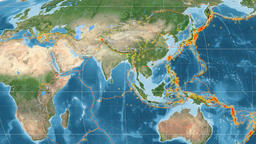 India tectonics featured. Satellite imagery. Mollweide projection Animation