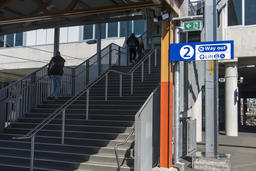 People leave station stairs up platform copyspace Photo
