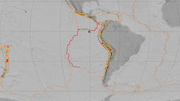 Nazca tectonics featured. Elevation grayscale. Mollweide projection Animation
