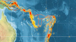 New Hebrides tectonics featured. Topography. Kavrayskiy VII projection Animation