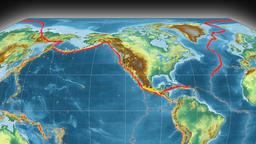 North America tectonics featured. Relief. Kavrayskiy VII projection Animation