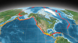 North America tectonics featured. Satellite imagery. Mollweide projection Animation
