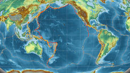 Pacific tectonics featured. Relief. Kavrayskiy VII projection Animation