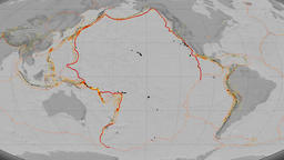 Pacific tectonics featured. Elevation grayscale. Mollweide projection Animation