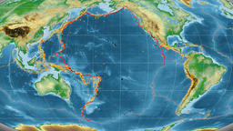 Pacific tectonics featured. Physical. Mollweide projection Animation