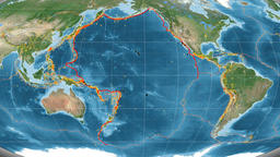 Pacific tectonics featured. Satellite imagery. Mollweide projection Animation