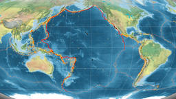 Pacific tectonics featured. Topography. Mollweide projection Animation
