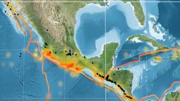 Rivera tectonics featured. Satellite imagery. Kavrayskiy VII projection Animation