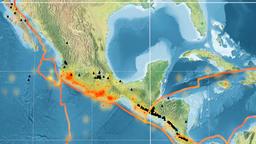 Rivera tectonics featured. Topography. Kavrayskiy VII projection Animation
