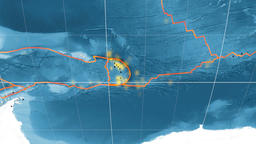 Sandwich tectonics featured. Satellite imagery. Mollweide projection Animation