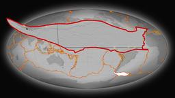 Scotia tectonics featured. Elevation grayscale. Mollweide projection Animación