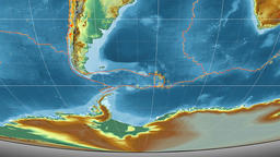 Scotia tectonics featured. Relief. Mollweide projection Animation