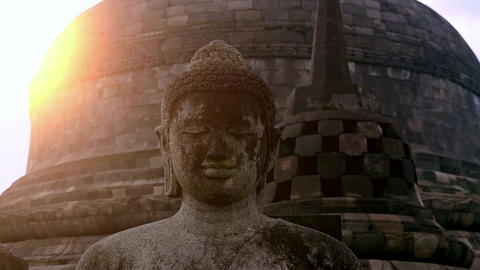 Statue of Buddha sitting in meditation position at Borobudur Temple. Indonesia Footage