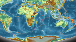 Somalia tectonics featured. Relief. Mollweide projection Animation