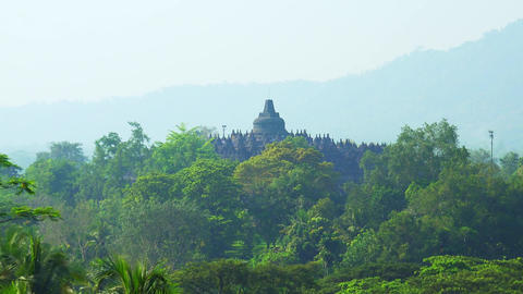 Borobudur, ancient Mahayana Buddhist temple in Magelang, Central Java, Indonesia Footage