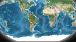 South America tectonics featured. Satellite imagery. Kavrayskiy VII projection Animation