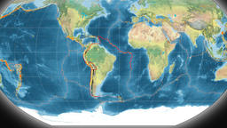 South America tectonics featured. Topography. Kavrayskiy VII projection Animation