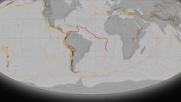 South America tectonics featured. Elevation grayscale. Mollweide projection Animation