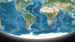 South America tectonics featured. Satellite imagery. Mollweide projection Animation