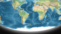South America tectonics featured. Topography. Mollweide projection Animation