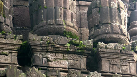 Impressively shrine of ancient Prambanan Hindu temple complex. Java, Indonesia Live Action