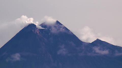 Mount Merapi. Smoking vent of most active volcano in Indonesia. Java Footage