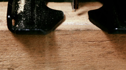 Jigsaw cutting wood frontal Footage