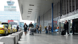 Václav Havel Airport Prague - people outside the airport (building) with contro Footage