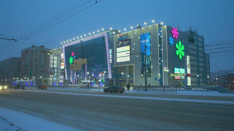 Festively decorated shopping center Footage