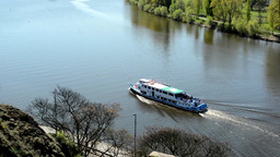 Boats On The River Vltava With The Bank Of The River stock footage