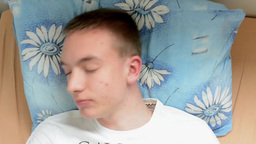 Man lying in bed and can not sleep - timelapse Footage