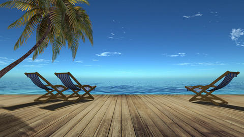 Tropical beach landscape with palm tree and chairs Animation