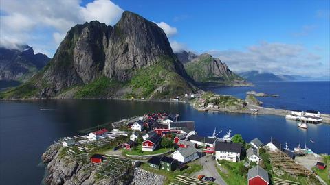 Village on Lofoten islands in Norway from air Footage