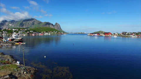 Fishing port Reine on Lofoten islands in Norway Footage