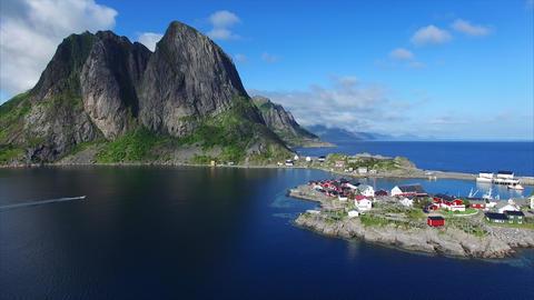 Aerial footage of village on Lofoten islands in Norway Footage