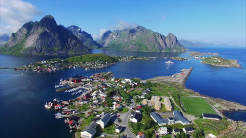 Flying Above Beautiful Town Reine On Lofoten Islands stock footage