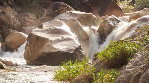 Waterfalls Cascade of Mountain River Stormy Stream among Rocks Footage