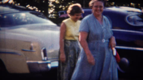 1951: Women liberation independant car travel vacations Footage