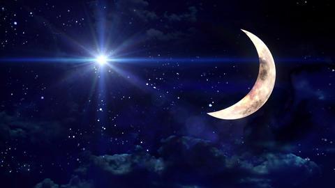 clear half moon blue star Animation