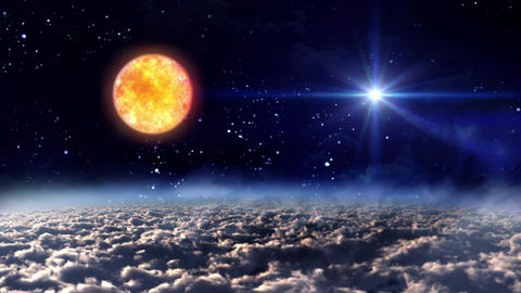 space night sun with star Animation