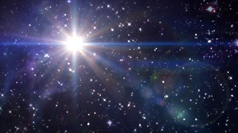 star lens flare in space blue color Animation