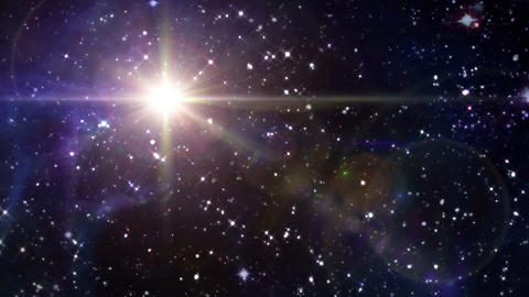 star lens flare in space yellow Animation