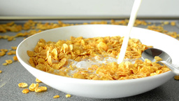 corn flakes with milk - pouring Footage