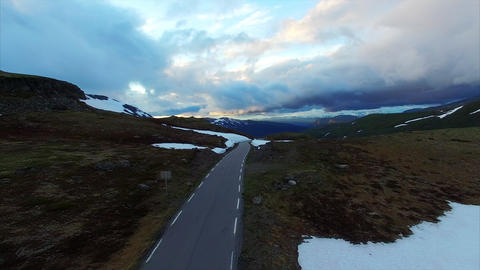 Cloudy evening on Aurlandsfjellet tourist route in Norway Live Action