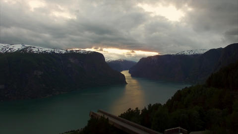 Popular viewpoint Stegastein above fjord in Norway Footage
