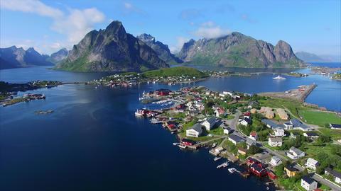 Fishing town Reine on Lofoten islands in Norway Footage