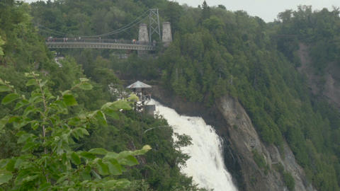 Waterfall Of Quebec From Tourist Point Of View stock footage