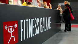 Bar or reception in fitness. Symbol of fitness, gym Footage