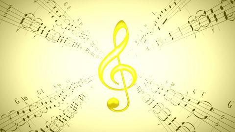 Rotating violin clef & music sheets, loop Animation